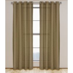 LJ Home Fashions Maestro Linen Like Grommet Curtain Panel Set,  54 inch W x 95 inch L, Light Brown