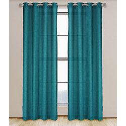 LJ Home Fashions Maestro Linen Like Grommet Curtain Panel Set,  54 inch W x 95 inch L, Dark Turquoise Blue