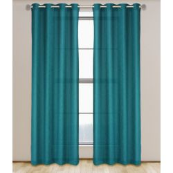 LJ Home Fashions Maestro Linen Like Grommet Curtain Panel Set,  54 inch W x 95 inch L, Dark Turquoise Blue