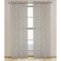 LJ Home Fashions Mystic Organza Scroll Burnout Grommet Curtain Panels 56 x 95-inch Taupe (Set of 2)