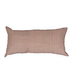 Striped Rectangular Throw Cushion, 12 x 20-inch Linen Beige/Baryard Red