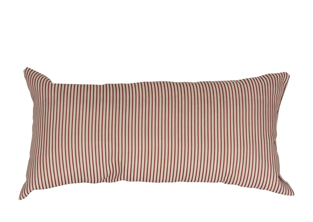 LJ Home Fashions Striped Rectangular Throw Cushion, 12 x 20-inch Linen Beige/Baryard Red