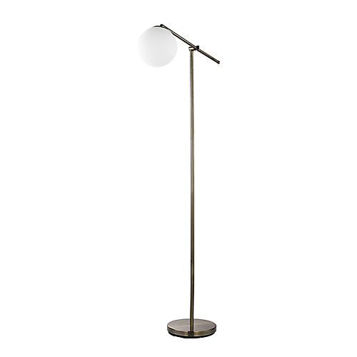 Portland 65-inch Floor Lamp in Brass Finish with White Frosted Glass Shade