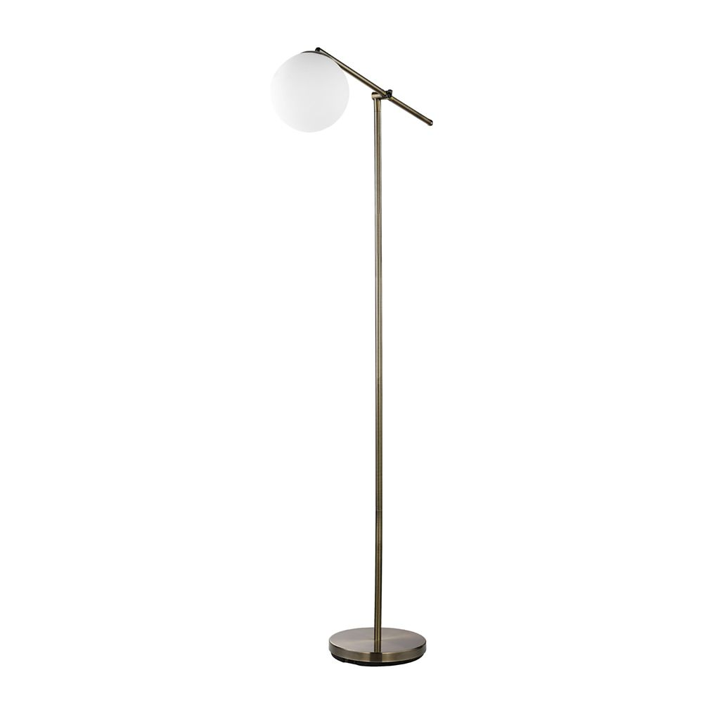 Globe Electric Portland 65-inch Floor Lamp in Brass Finish with White Frosted Glass Shade