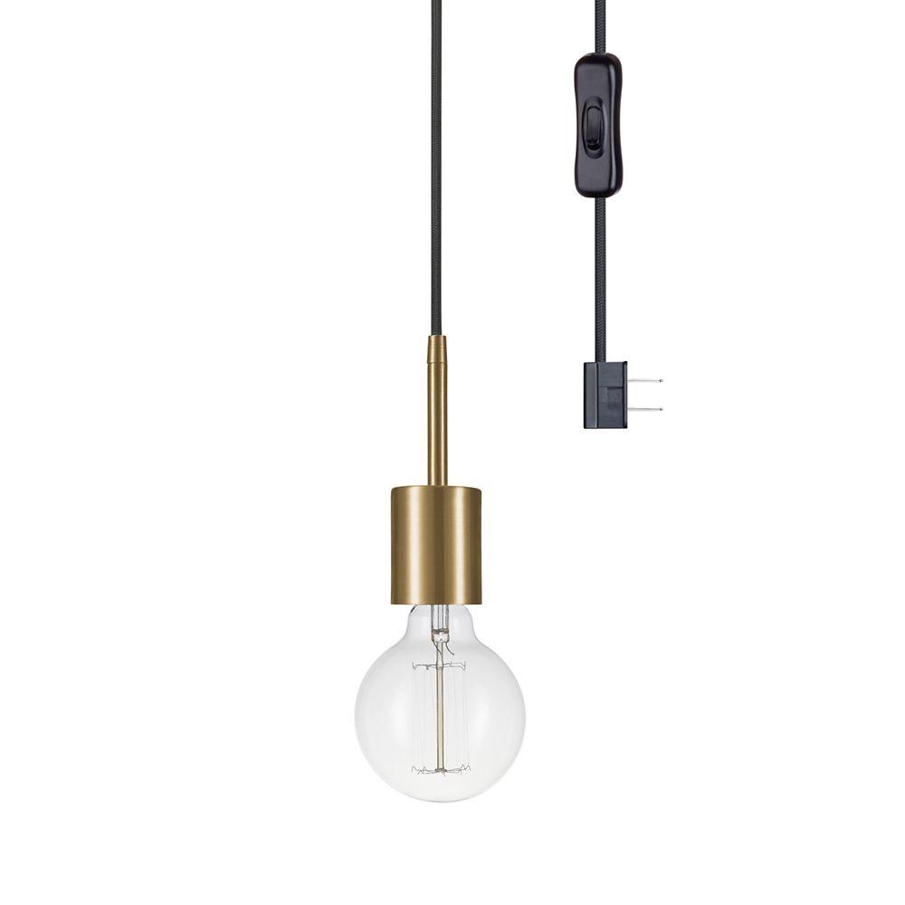 Globe Electric Leila 1-Light Plug-In Pendant, Brass Finish Socket, Black Designer Woven Fabric Cord