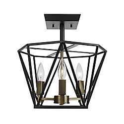 Globe Electric Plafonnier semi-encastré à 3 lumières, collection Sansa, fini en bronze foncé