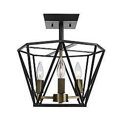 Globe Electric Sansa 3-Light Semi-Flush Mount Ceiling Light Fixture in Dark Bronze Finish with Antique Brass Accents