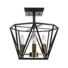 Sansa 3-Light Semi-Flush Mount Ceiling Light, Dark Bronze Finish, Antique Brass Accents