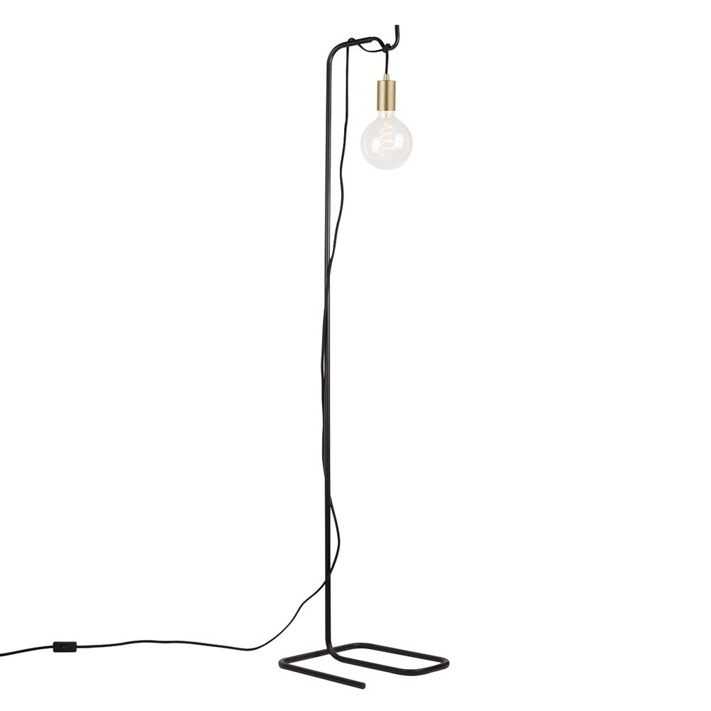 Globe Electric Designer Series 60-inch Black and Brass Floor Lamp with Vintage Bulb
