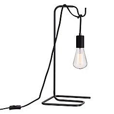 Lampe de table noire avec ampoule vintage 18