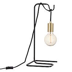 Lampe de table noire et laiton avec ampoule vintage 18