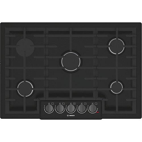 Série 800  Table de cuisson au gaz de 30 po  5 brûleurs  noir avec boutons en inox noir