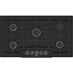 800 Series - 36 inch Gas Cooktop - 5 Burners - Black w/ Black Stainless Knobs