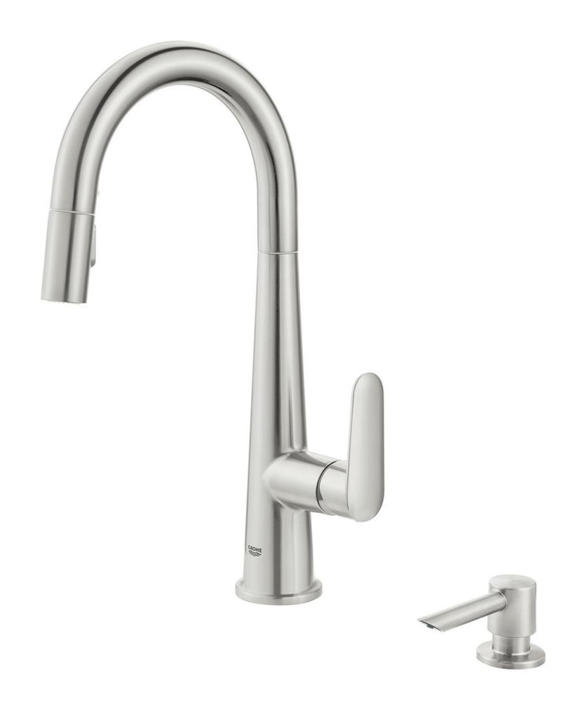 GROHE Veletto Single-Handle Pull-Down Spray Kitchen Faucet in SuperSteel Infinity Finish