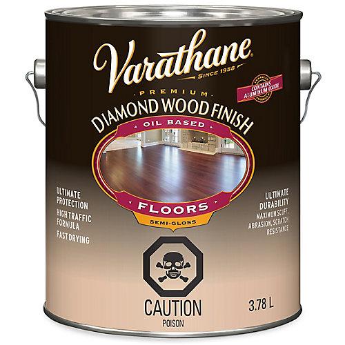 Premium Diamond Wood Finish For Floors, Oil-Based In Semi-Gloss Clear, 3.78 L