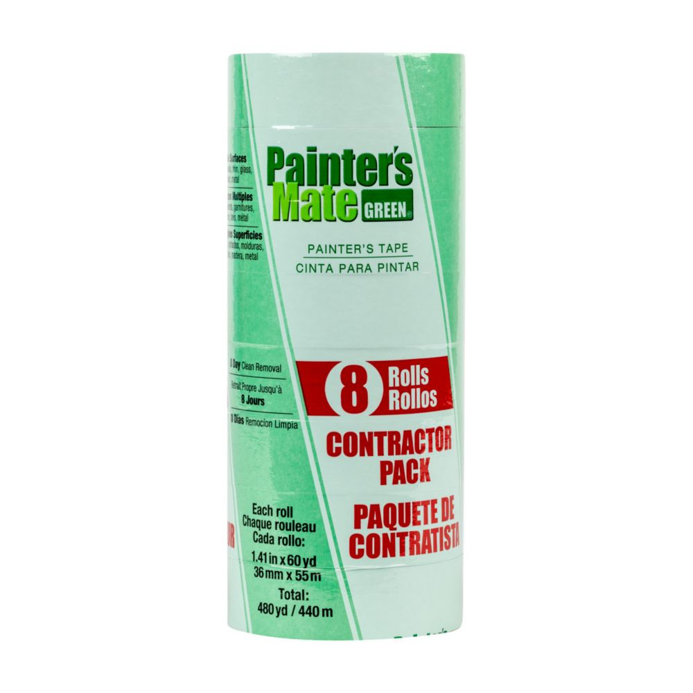 Painter's Mate Green Tape, 8-Pack, 1.41 in. x 60 yds., Green