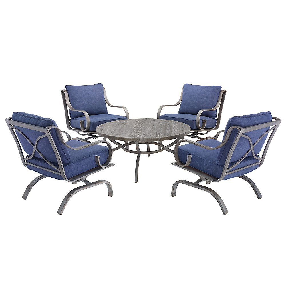 Enjoyable West Palm 5 Piece Cushioned Conversation Set Blue Fabric Download Free Architecture Designs Embacsunscenecom