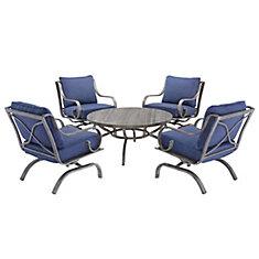 Ensemble de conversation de patio West Palm 5 pièces avec coussins bleus pour patio
