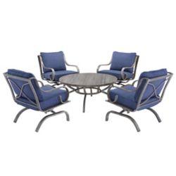 Hampton Bay Ensemble de conversation de patio West Palm 5 pièces avec coussins bleus pour patio