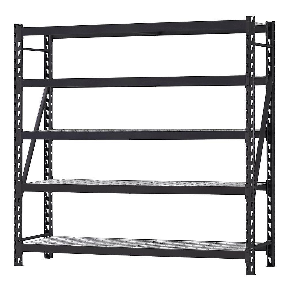 90-inch H x 90-inch W x 24-inch D 5-Shelf Welded Steel Shelving Unit with Wire Deck in Black