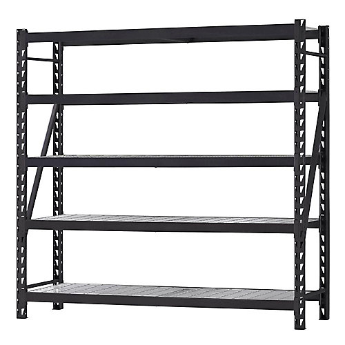 90-inch H x 90-inch W x 24-inch D 5-Shelf Welded Steel Shelving Unit with Wire Deck in Black