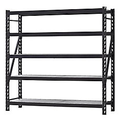 90-inch H x 90-inch W x 24-inch D 5 Shelf Welded Steel Shelving Unit with Wire Deck in Black