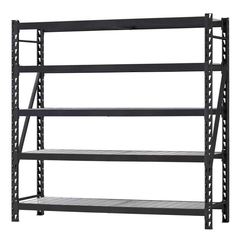 HUSKY 90-inch H x 90-inch W x 24-inch D 5 Shelf Welded Steel Shelving Unit with Wire Deck in Black