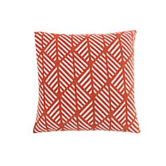 18-inch x 18-inch Orange Geometric Design Pillow