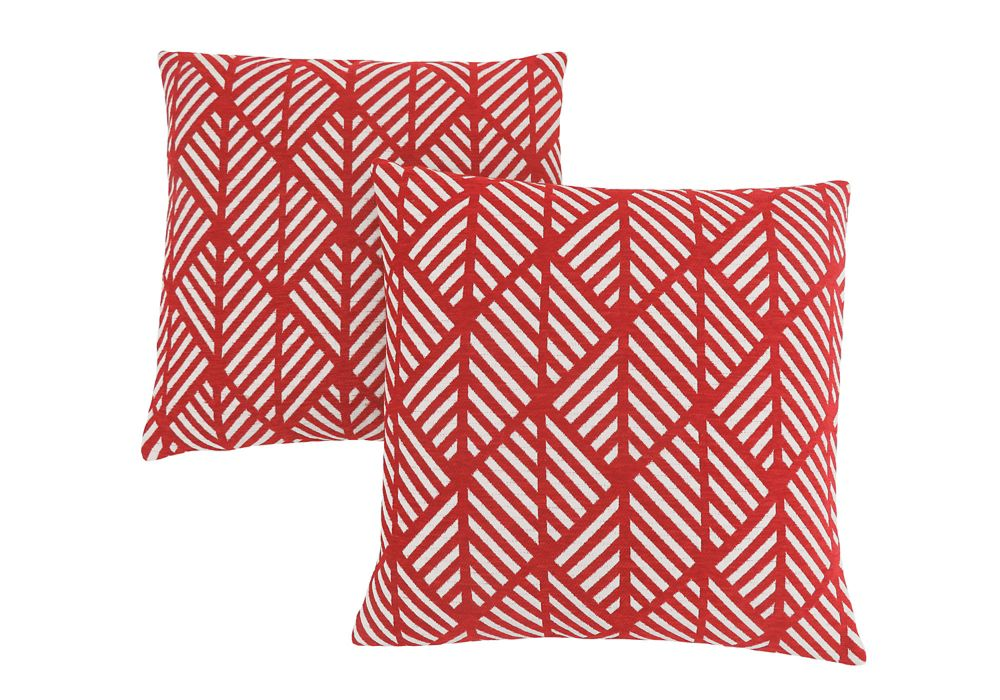 Monarch Specialties Pillow - 18-inch X 18-inch Red Geometric Design (2-Pcs)