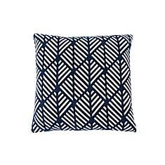 18-inch x 18-inch Dark Blue Geometric Design Pillow