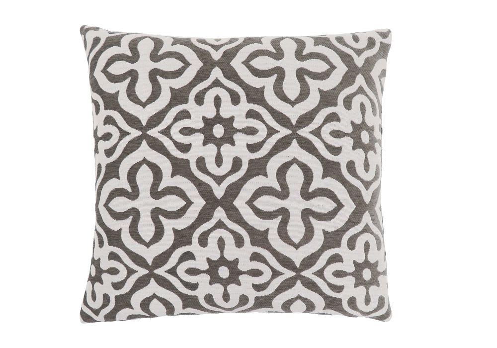 Monarch Specialties 18-inch x 18-inch Dark Taupe Motif Design Pillow