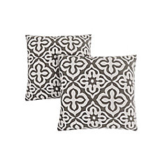 Pillow - 18-inch X 18-inch Dark Taupe Motif Design (2-Pcs)