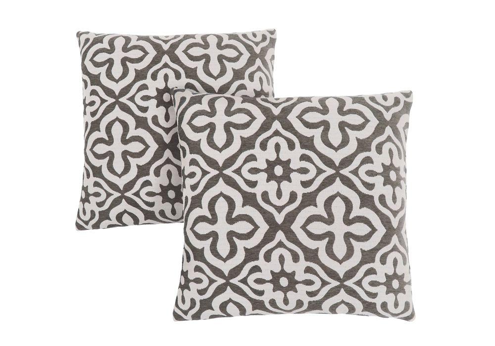 Monarch Specialties Pillow - 18-inch X 18-inch Dark Taupe Motif Design (2-Pcs)