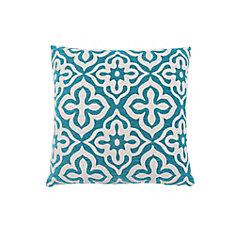 18-inch x 18-inch Teal Motif Design Pillow