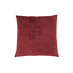 18-inch x 18-inch Red Brushed Velvet Pillow