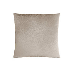 18-inch x 18-inch Taupe Floral Velvet Pillow