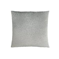 18-inch x 18-inch Light Grey Floral Velvet Pillow