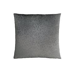 18-inch x 18-inch Dark Grey Floral Velvet Pillow