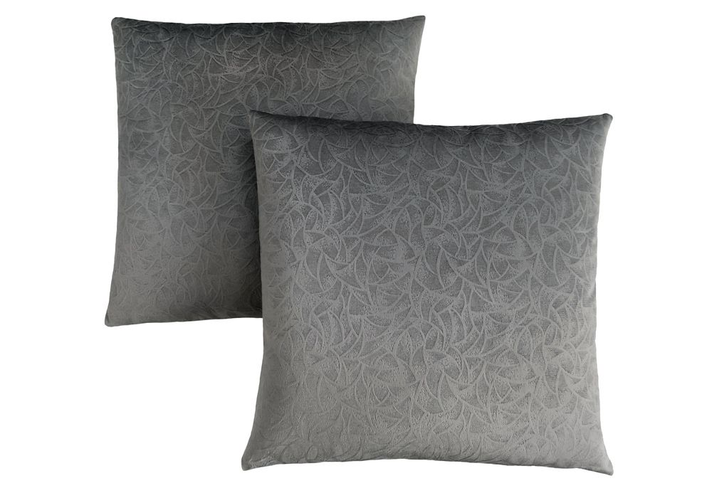Monarch Specialties Pillow - 18-inch X 18-inch Dark Grey Floral Velvet (2-Pcs)