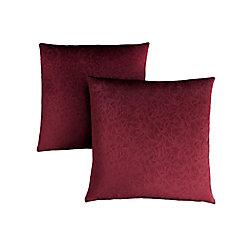 Monarch Specialties Pillow - 18-inch X 18-inch Dark Red Floral Velvet (2-Piece)