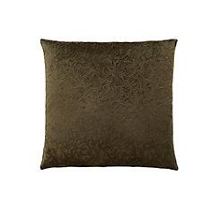18-inch x 18-inch Dark Green Floral Velvet Pillow