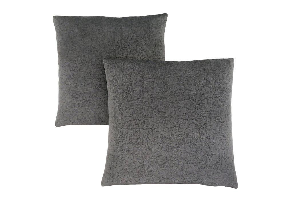 Monarch Specialties Pillow - 18-inch X 18-inch Dark Grey Mosaic Velvet (2-Pcs)
