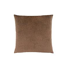 18-inch x 18-inch Light Brown Mosaic Velvet Pillow