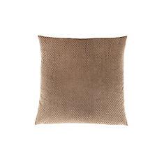 18-inch x 18-inch Beige Diamond Velvet Pillow