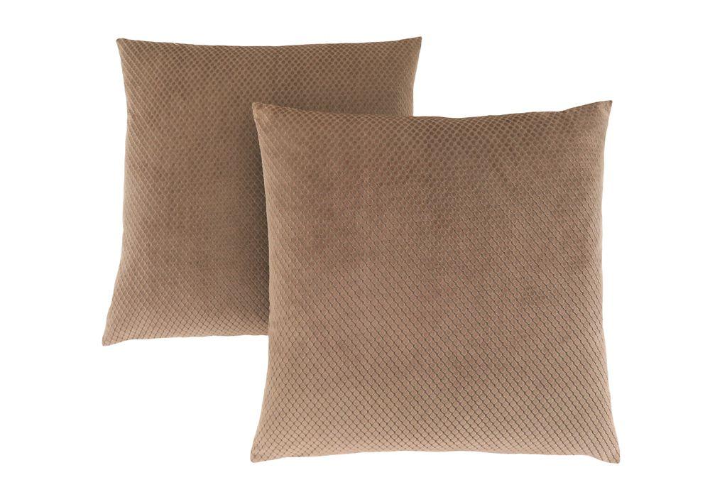 Monarch Specialties Pillow - 18-inch X 18-inch Beige Diamond Velvet (2-Pcs)
