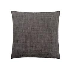 18-inch x 18-inch Linen Patterned Dark Grey Pillow
