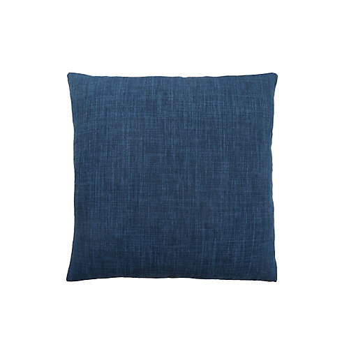18-inch x 18-inch Linen Patterned Dark Blue Pillow