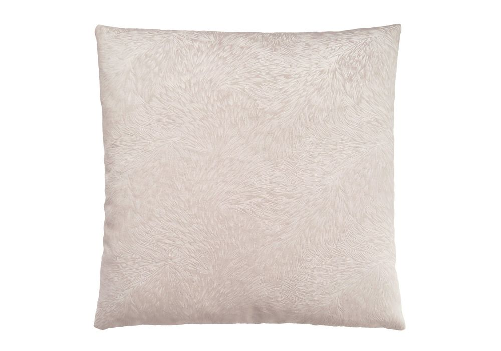 Monarch Specialties 18-inch x 18-inch Light Taupe Feathered Velvet Pillow