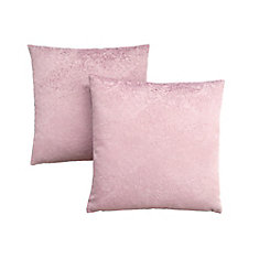 Pillow - 18-inch X 18-inch Light Pink Feathered Velvet (2-Pcs)