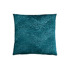 18-inch x 18-inch Turquoise Feathered Velvet Pillow